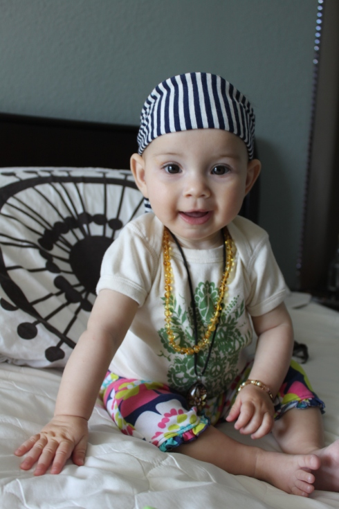 So this happened this past Purim--she's either a pirate, hippie or Johnny Depp. We're still not sure