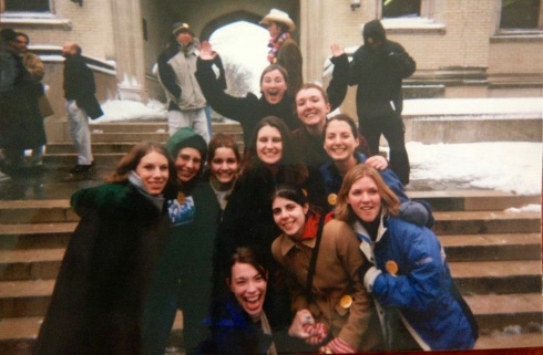 The college crew.  I'm fairly confident I'm wearing overalls in this picture. #2002