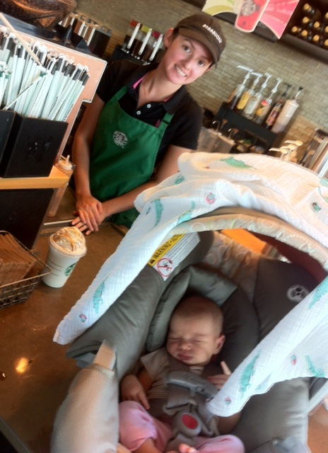 5 weeks old! Our first Starbucks run.  It was so freeing to get out (I had to document that glorious moment).