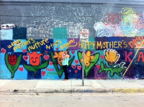 Wynwood Walls decorated for Mother's Day.  Can you spot me and my girl?