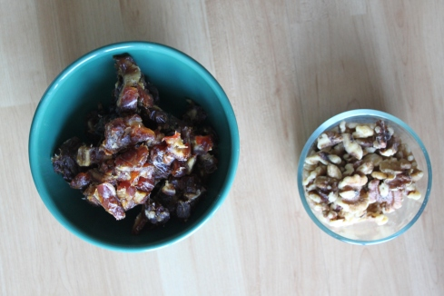 Chopped dates and walnuts