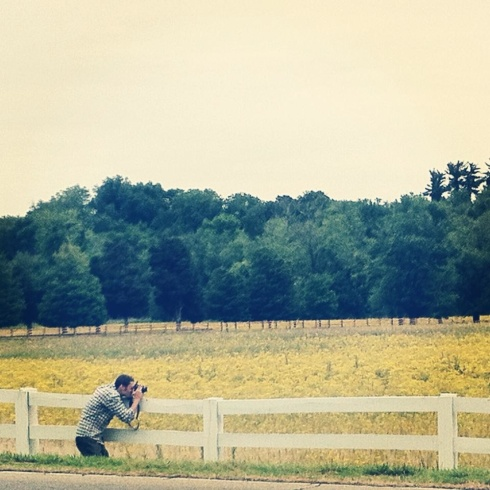 The hubby capturing some wildflowers on the side of the road in Kentucky