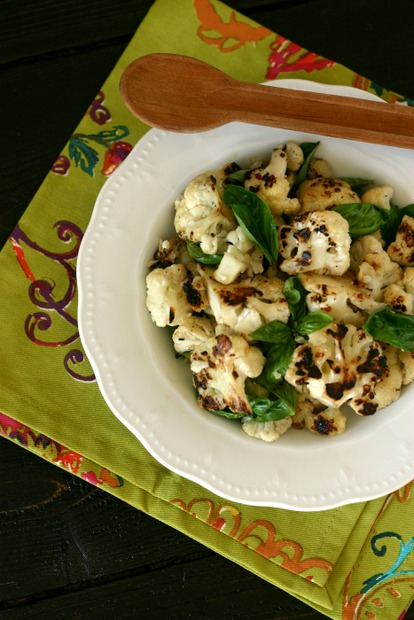 Grilled Cauliflower with Basil and White Balsamic Vinegar from Everyday Maven