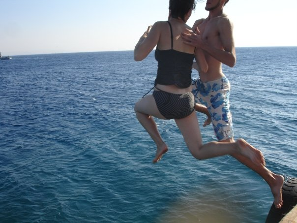 These limbs are the reason our nearly 1 year old can reach the 3rd shelf of our bookshelf already.  (Jumping off the pier in Eilat circa 2008.  Don't we look like elegant reindeer?)