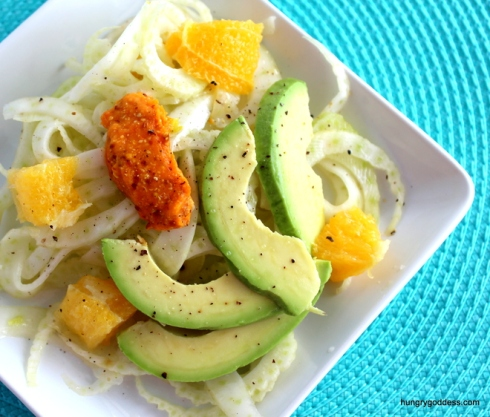 Fennel, Orange & Avocado Salad with Carrot Dressing Recipe from The Hungry Goddess