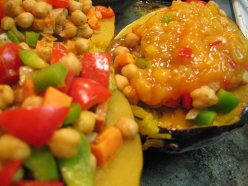 Chutney-glazed Stuffed Acorn Squash by the Gluten-Free Doctor
