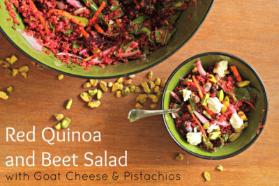 Red Quinoa and Beet Salad with Goat Cheese and Pistachios from What Jew Wanna Eat