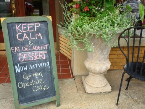 Wise advice from the Well-Bred Bakery in Weaverville, NC where we stopped for cookies and coffee before heading home.