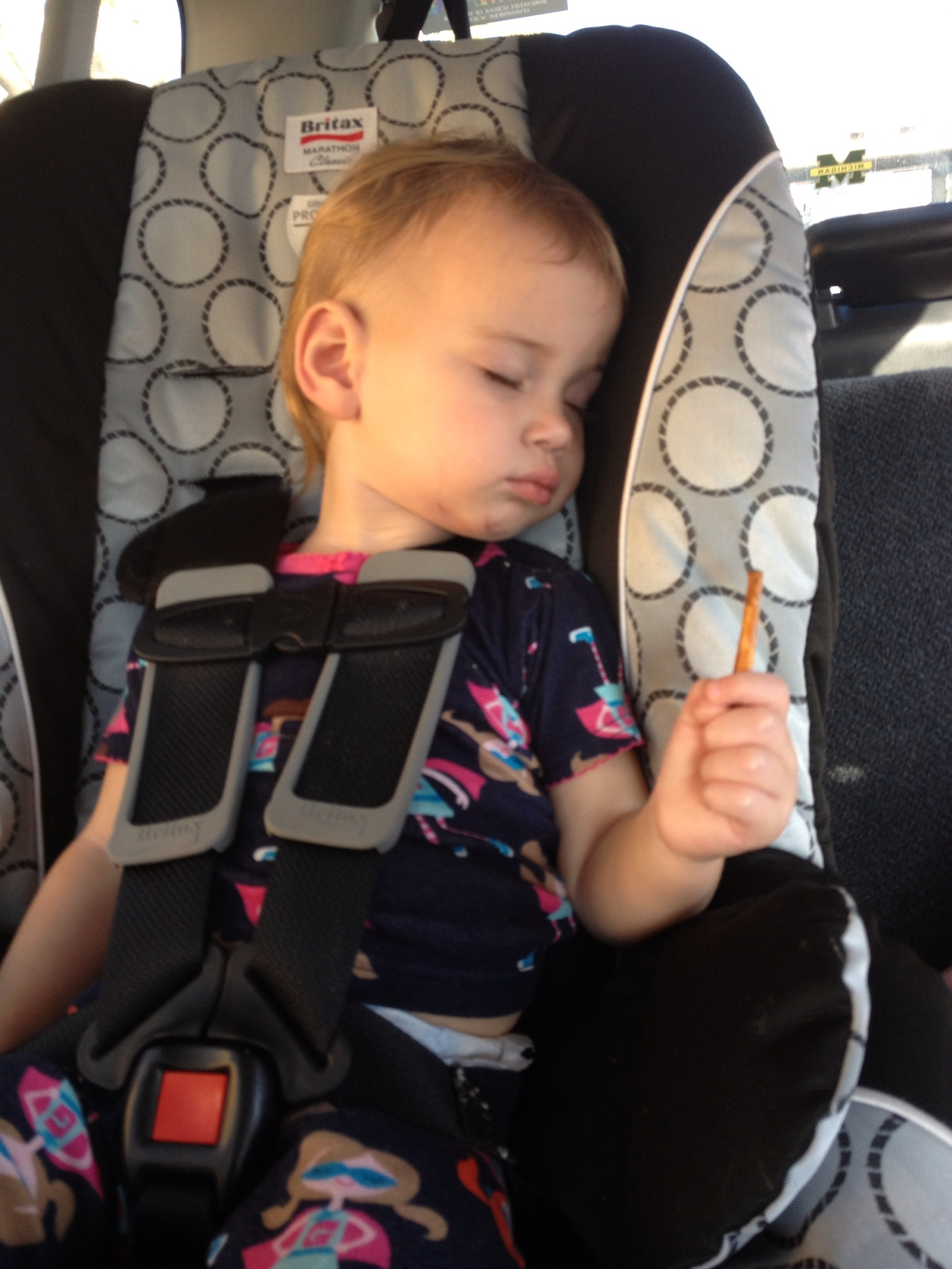 After her bout with food poisoning -- a drive in the car to help induce napping.  She would NOT let go of those pretzels.